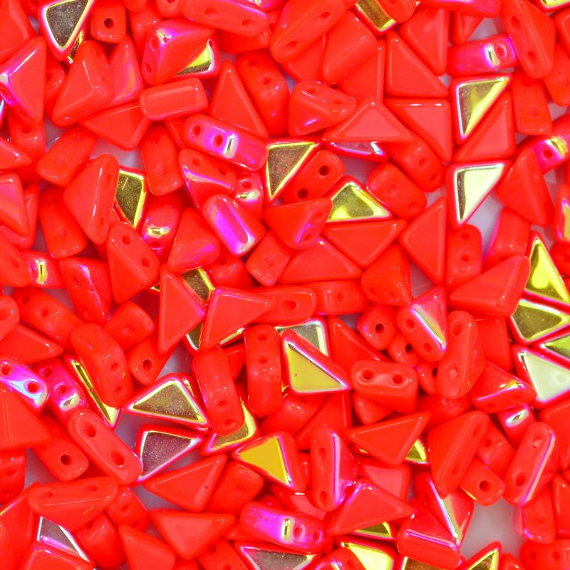 27888100-32 Shaped Beads - 2 hole Tango - Coral AB