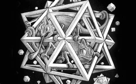 ah71 mc escher space art illust lizard bw   Papers.co