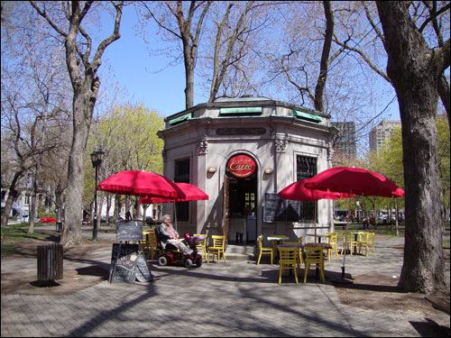 St. Louis Square Park at the east end of Rue Prince Arthur, Montreal. Ice cream shop smack in the  middle of the park.