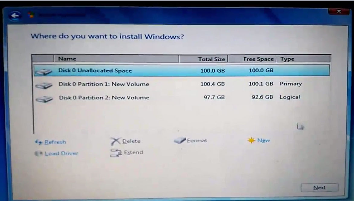 After Delete partition choose Unallocated Space