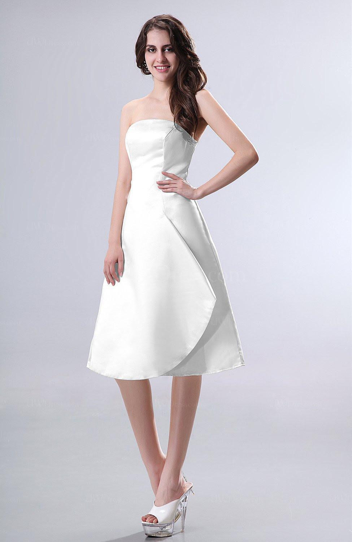 white simple aline strapless zipper knee length draped