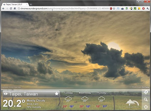 google-chrome weather app