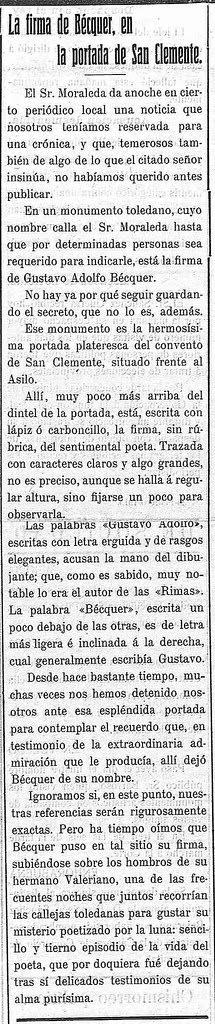 Noticia del grafito de Bécquer en Toledo publicada en el Diario Toledano el 26 de febrero de 1915