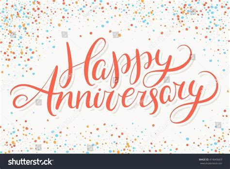 Happy Anniversary Greeting Card Hand Lettering Stock