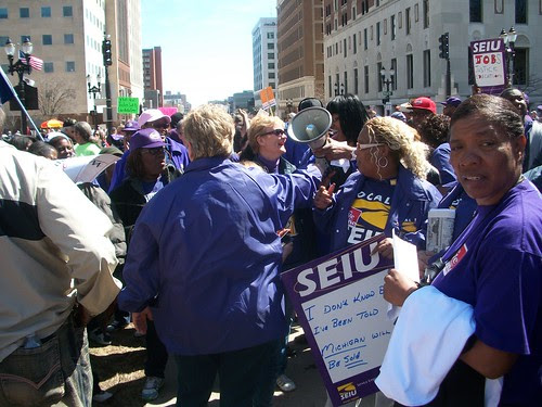 Members of the Service Employees International Union (SEIU) outside the Michigan State Capitol in Lansing demonstrating against the austerity measures imposed by the Governor and legislature. (Photo: Abayomi Azikiwe) by Pan-African News Wire File Photos