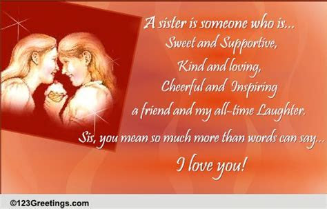 I Love You Sis  Free Sister eCards, Greeting Cards   123