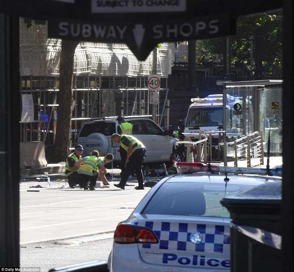 A witness told Nine News they thought the car was travelling at about 60km/h as it drove into busy crowds (pictured)