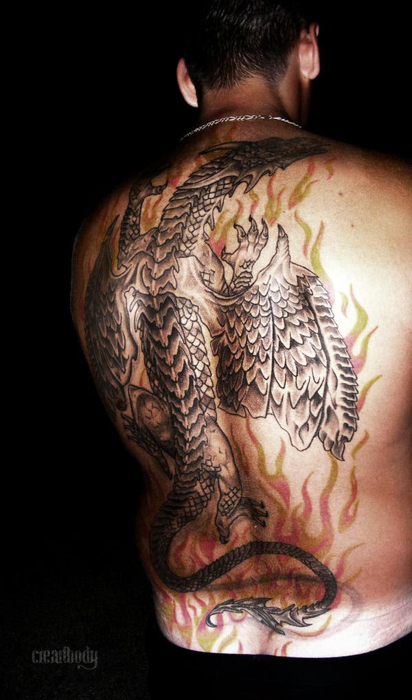 art Tattoo Design- Dragon Tattoo On Back Body
