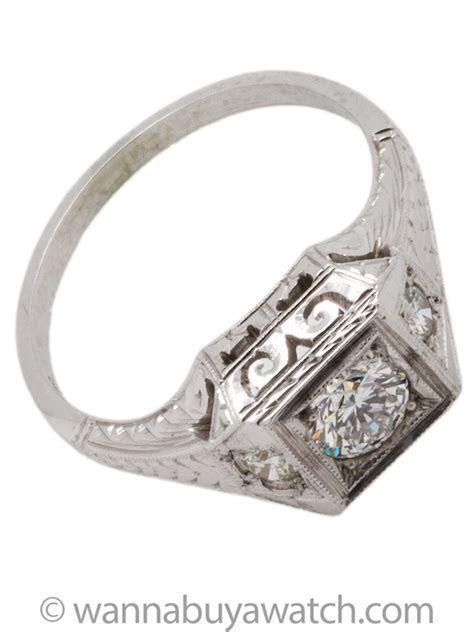 Vintage Belais Engagement Ring 18K White Gold 0.37ct H VS2