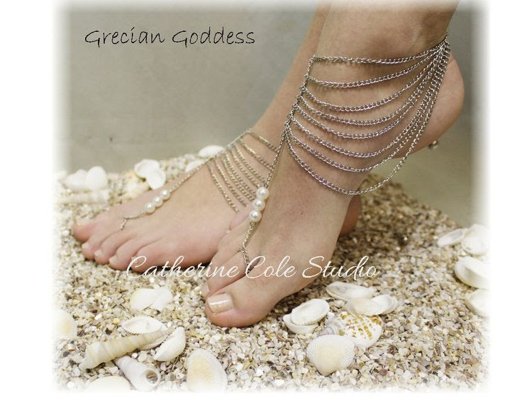 GRECIAN GODDESS in Silver  womens Barefoot shoe jewelry by CatherineColeStudio