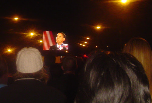 Election night, November 2008, Grant Park, Chicago, President Obama on the screen