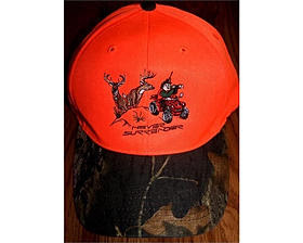 Deer Hunting Hats from Never Surrender come in Hunter Orange with a camouflage bill