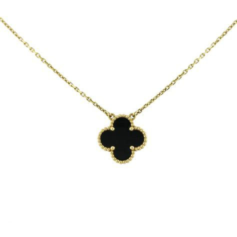 Van Cleef and Arpels Single Alhambra Onyx Necklace Boca Raton