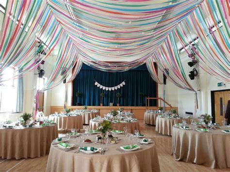 colourful ribbon canopy wedding reception town village