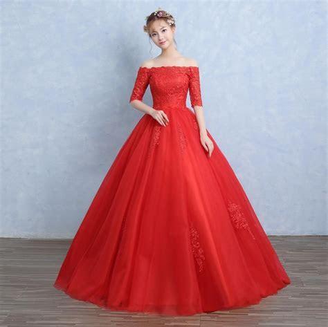 Cheap New Design Red/White Boat Neck Wedding Dresses Floor