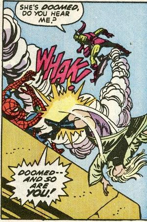 A trágica cena envolvendo o Homem-Aranha, Gwen Stacy e o Duende Verde. Arte de Gil Kane e John Romita.