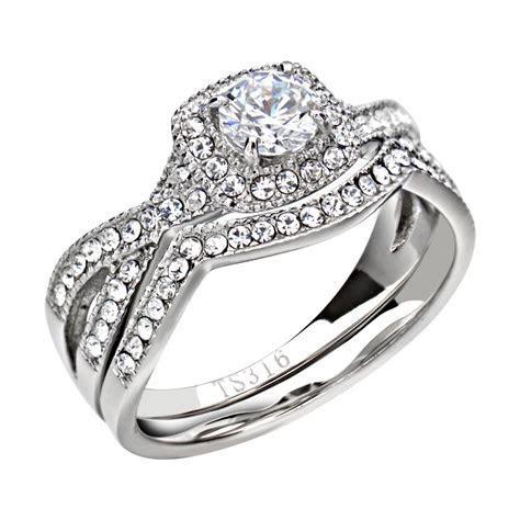 Women's Wedding Band Ring Set Stainless Steel Round Cut