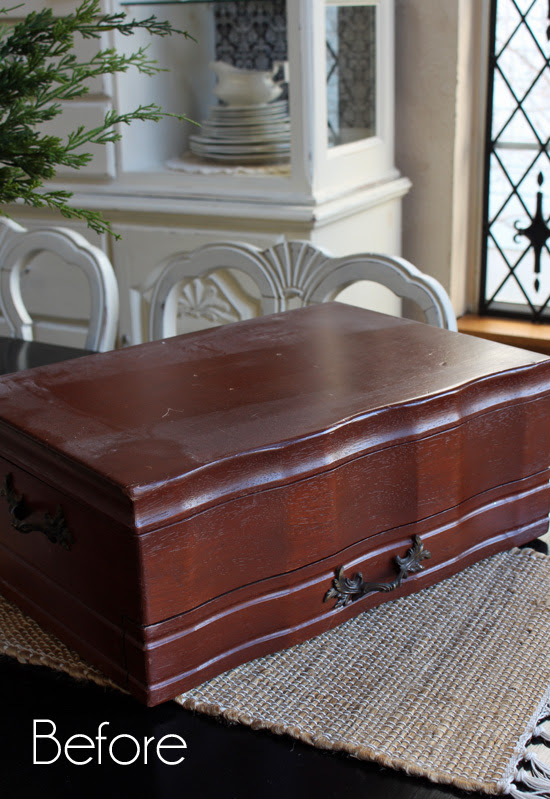 flatware chest before makeover