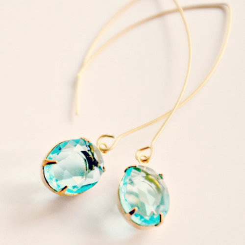 nestprettythings:  Long Pale Aqua Earrings by Nest Pretty Things