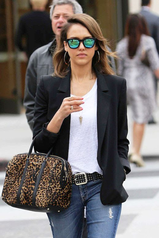 Le Fashion Blog Jessica Alba Westward Leaning Mirror Sunglasses ALC Leopard Print Satchel Bag Celebrity Style 2014 Long Bob Hair White Tee Tshirt Black Blazer Jacket Hoop Earrings Cropped Studded Belt Distressed Denim Jeans With Ripped Knees Los Angeles Style 1 photo Le-Fashion-Blog-Jessica-Alba-Westward-Leaning-Mirror-Sunglasses-ALC-Leopard-Satchel-Bag-Charlotte-Olympia-Kitty-Flats-Celebrity-Style-20.jpg