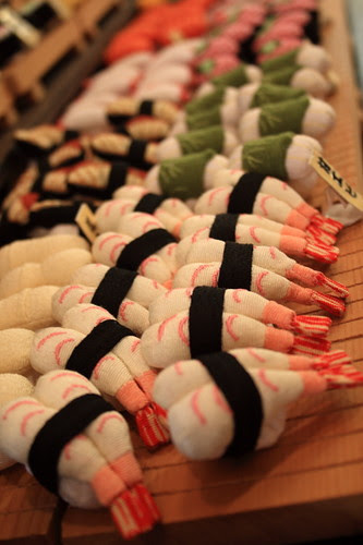 Cotton sushis in the famous cotton craft shop in Arashiyama
