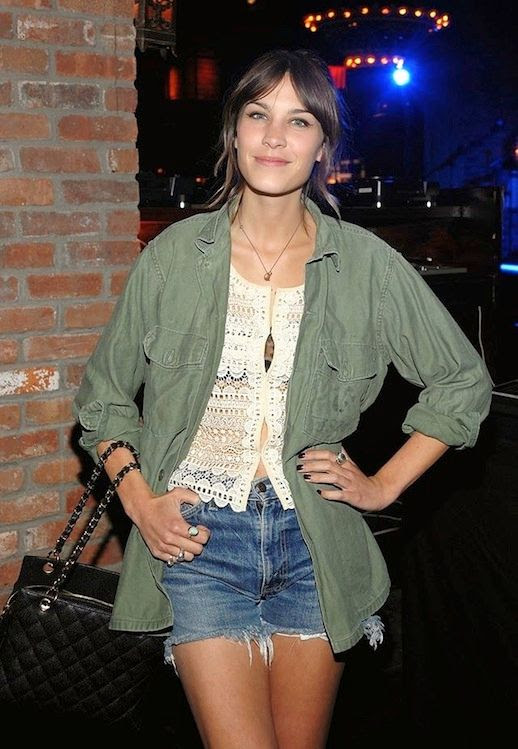 30 Le Fashion Blog 40 Of Alexa Chung Best Looks With Denim Shorts Green Army Jacket Crochet Top Jean Cut Offs Via Popsugar
