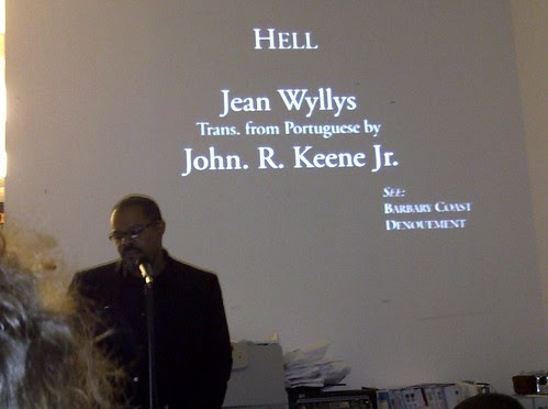 Yours truly, reading my translation of Jean Wyllys's story