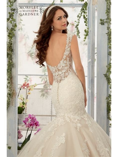 Mori Lee 5407 Mermaid Style Lace Wedding Dress Ivory