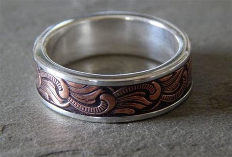 PAISLEY Silver & Copper // Men's Wedding Ring // by PaulZozem