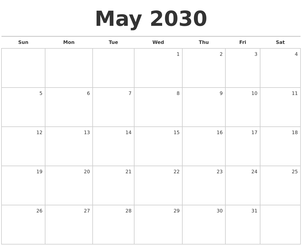 may 2030 blank monthly calendar
