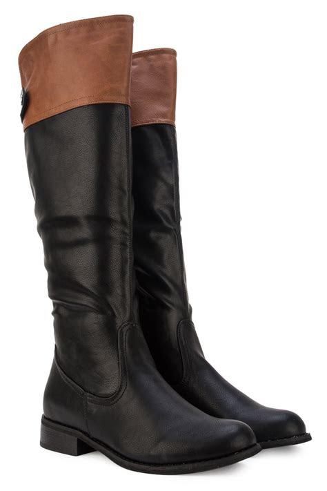 womens black tan brown casual ladies knee high long