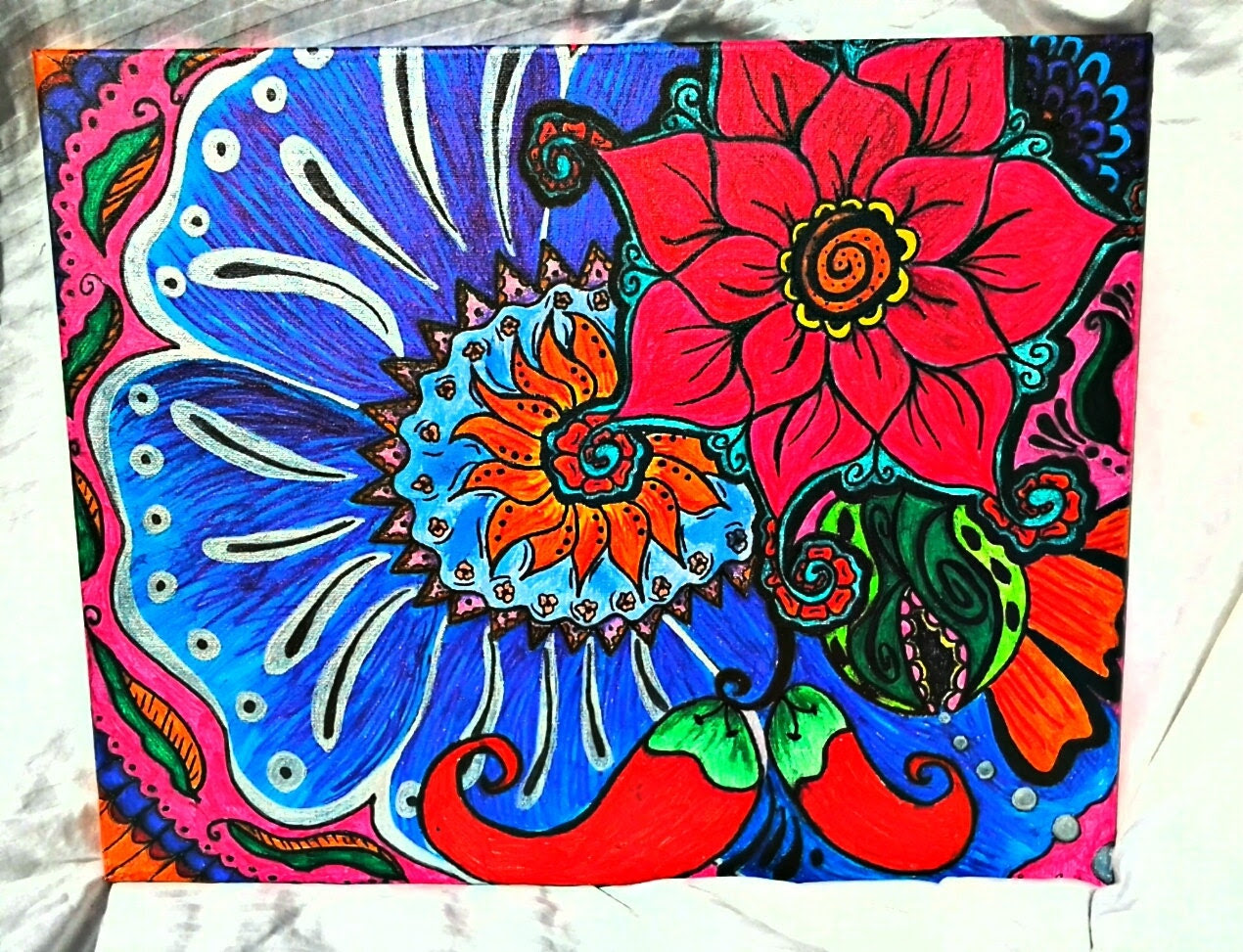 zentangle Floral painting with chili peppers very boho.