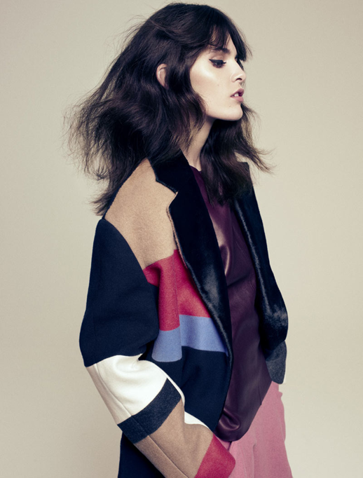 COVER MAGAZINE DENMARK EDITORIAL MELISSA STASIUK ANDREAS OHLUND MINIMAL GLAM HAIR NATURAL BEAUTY INSPIRATION MESSY VOLUME 70s 80S INSPIRED BRUNETTE FEATHERED CELINE COLOR BLOCK COAT LEATHER BURGUNDY SHELL TOP PINK PANTS CAT EYE LINER 2