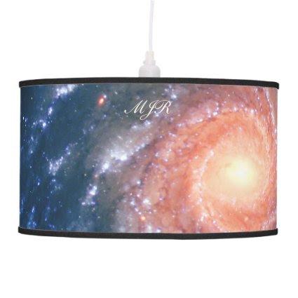 Monogram Spiral Galaxy: Deep space astronomy image Hanging Pendant Lamp
