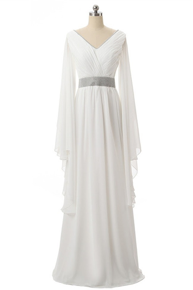White long sleeve v neck dress for boutique