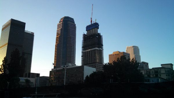 A photo of Los Angeles' Wilshire Grand Center that I took early in the morning on November 4, 2015.