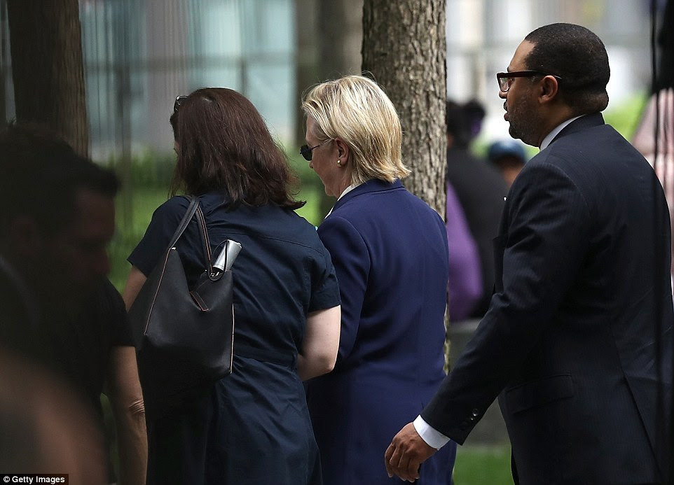 Clinton was taken from the 9/11 memorial site at 9:30am on Sunday, just 90 minutes after arriving to remember the 2,977 people who lost their lives