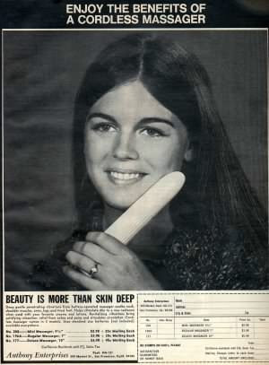 scan of 1971 magazine ad for a cordless massager- but she doesn't look like she has figured out the varied ways it could be used