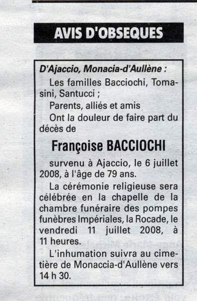 Décès Bacciochi Marie Françoise