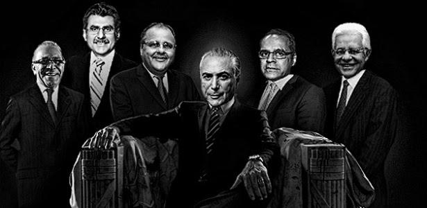 Homens fortes de Temer, da esq. para a dir.: Padilha, Jucá, Geddel, Henrique e Moreira Franco