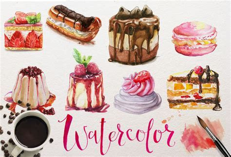 watercolor desserts collection ~ Illustrations ~ Creative