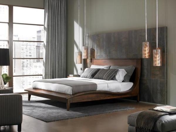Indirekte Beleuchtung im Schlafzimmer BEtt Design Glas Wandfläche
