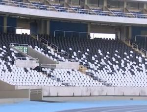 Setor leste inferior do estádio Nilton Santos (Foto: Reprodução SporTV)