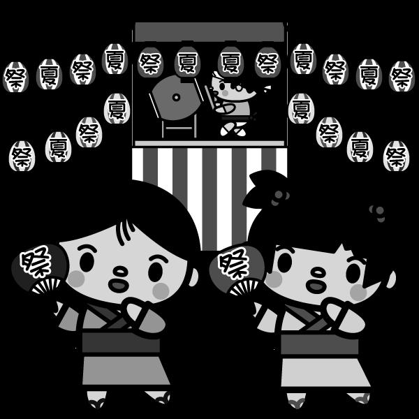 かわいい夏祭りの盆踊りの無料イラスト商用フリー オイデ43