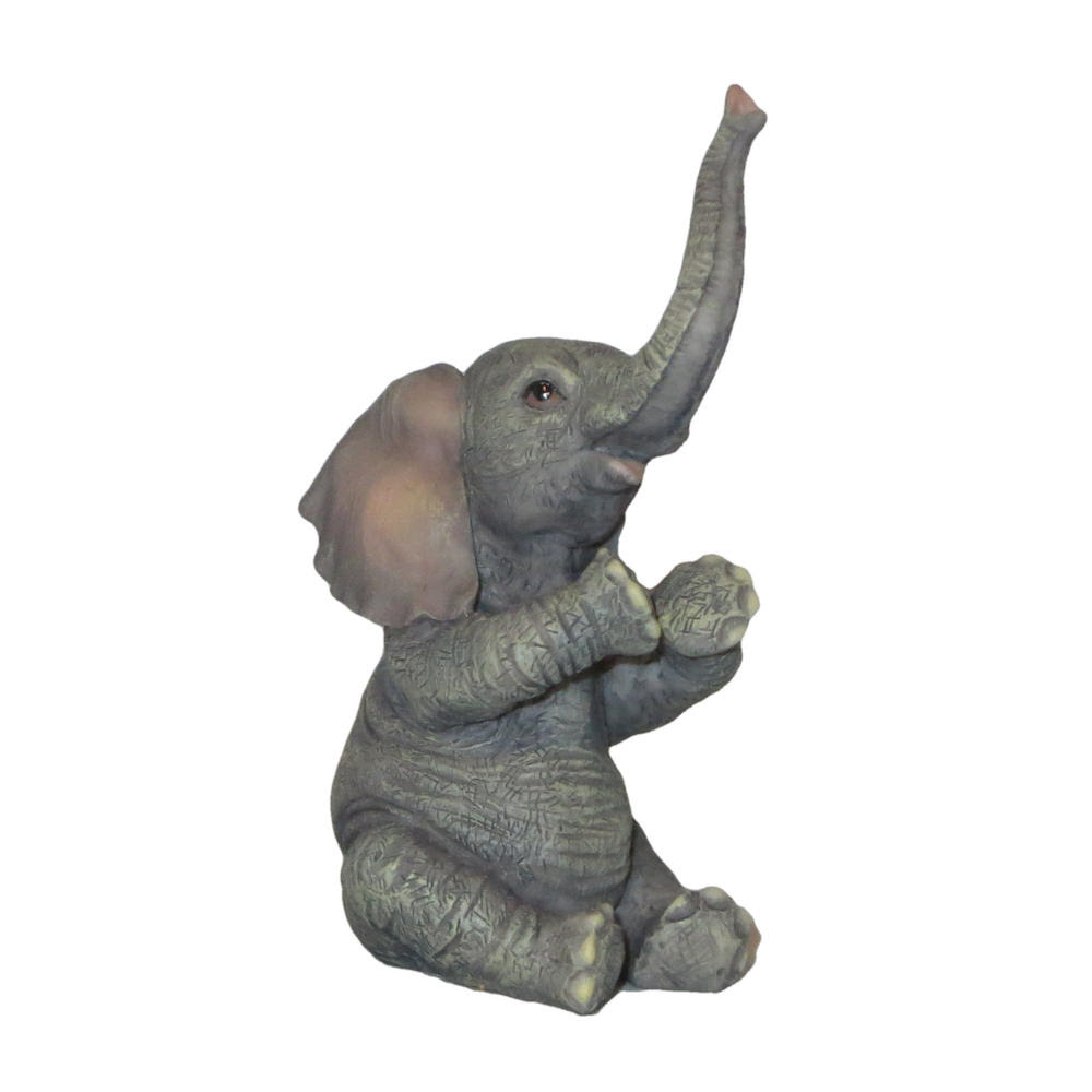 Veronese Design Baby Elephant Sitting And Applauding Sculpture