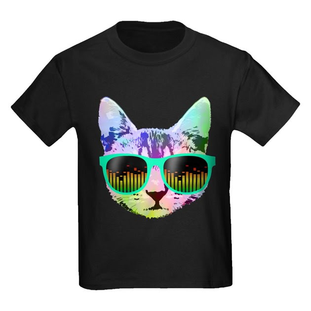 Rainbow Music Cat Kids Dark T-Shirt Rainbow Music Cat T ...