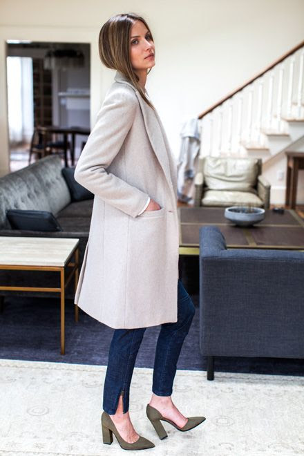 Le Fashion Blog -- Emerson Fry Neutral Classic Coat, White T-Shirt, Ankle Slit Denim & Green D'orsay Heels -- photo Le-Fashion-Blog-Emerson-Fry-Neutral-Classic-Coat-White-T-Shirt-Ankle-Slit-Denim-Green-Dorsay-Heels.jpg