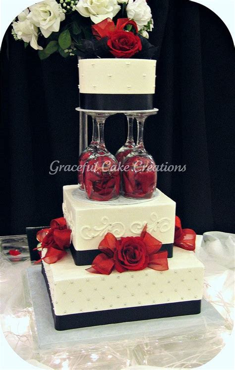 Elegant White, Black and Red Wedding Cake in 2019   Cakes