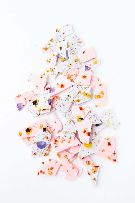 Recipe // Color Blocked Chocolate Bark with Edible Flower Sprinkles