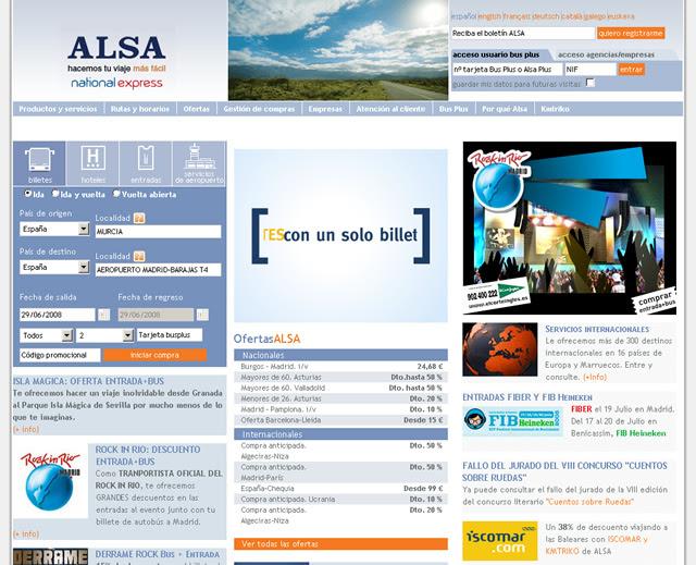 Nueva página web ALSA